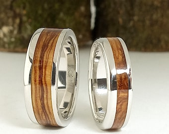 Wooden Silver Weding Rings - Ideas original wedding ring with olive wood