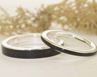 Ebony Wood and Silver Wedding Rings / Ebony set silver rings