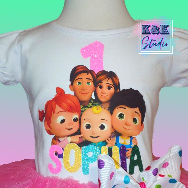 ribbon trim tutu set Cocomelon Cocomelon tutu set Birthday tutu set Cocomelon family Cocomelon girl outfit