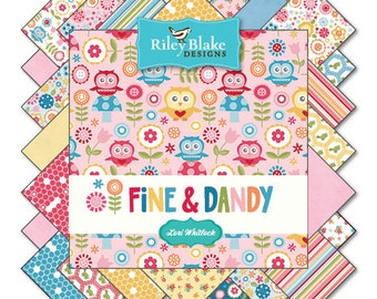 "Fine & Dandy by Riley Blake Designs 10"" Stackers Layer Cake 100% Designer Cotton by Lori Whitlock 10-4360-18"