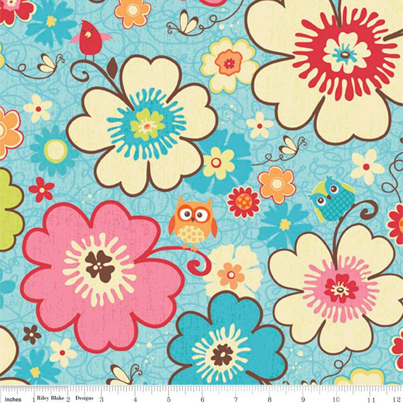 By 1//2 Yard Riley Blake Fabric Twice as Nice ~ Spice Garden Pink Floral Flowers