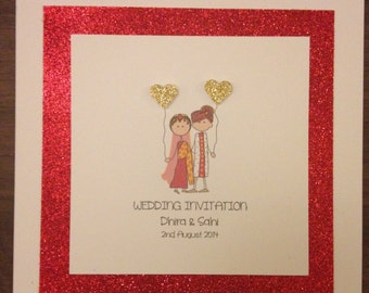Handmade Personalised Glitter Wedding Invitations - Bride & Groom Indian Wedding