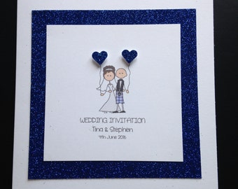 Handmade Personalised Glitter Wedding Invitations - Bride & Groom Scottish Kilt