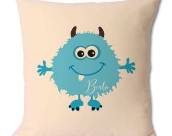 Personalised Little Blue Monster Cushion