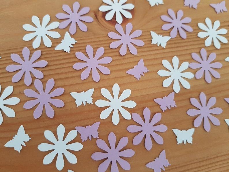 130 Teile Blumen Schmetterling Tischdekoration Taufe Hochzeit Baby Party Scrapbooking Streuteile Sommer Lila Weiß Konfetti