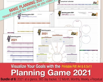 Planning Game 2021 - Mind Map Style Format Calendar: Year 2021, Year Tracking 2021,  12 Month, Monthly, Weekly, & Perpetual