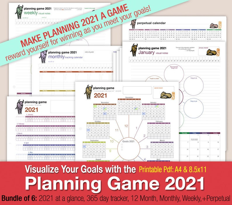 Planning Game 2021  Mind Map Style Format Calendar: Year image 0