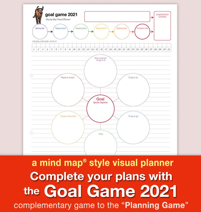 Goal Game 2021 a mind map style visual planner image 0