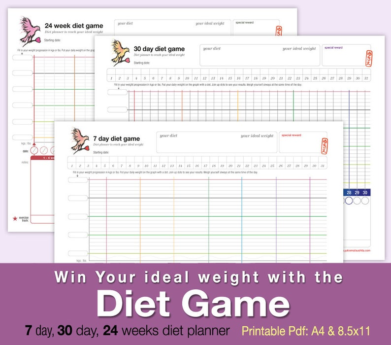 Diet Game  printable weight loss planner to reach your ideal image 0