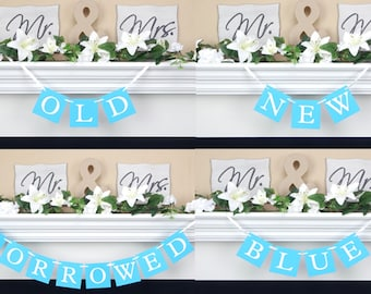 something old new borrowed blue bridal shower banner set wedding reception garland hen party sign bachelorette party decor