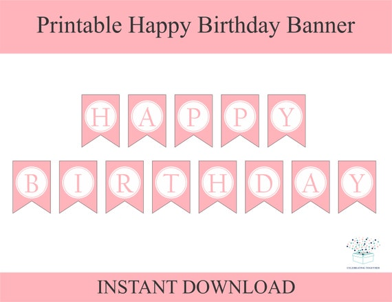 Pink Happy Birthday Bunting Banner Party Garland Decor Girls Birthday Decoration