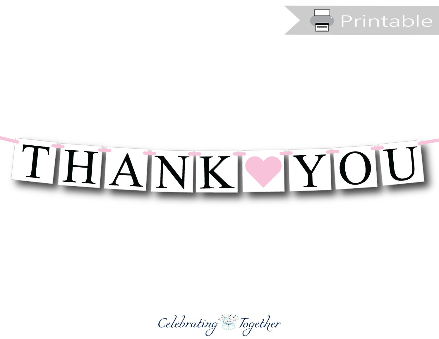 photograph relating to Thank You Banner Printable named PRINTABLE thank yourself banner, quick obtain bridal shower garland, bride and groom image prop bunting, Do it yourself marriage ceremony thank on your own decor