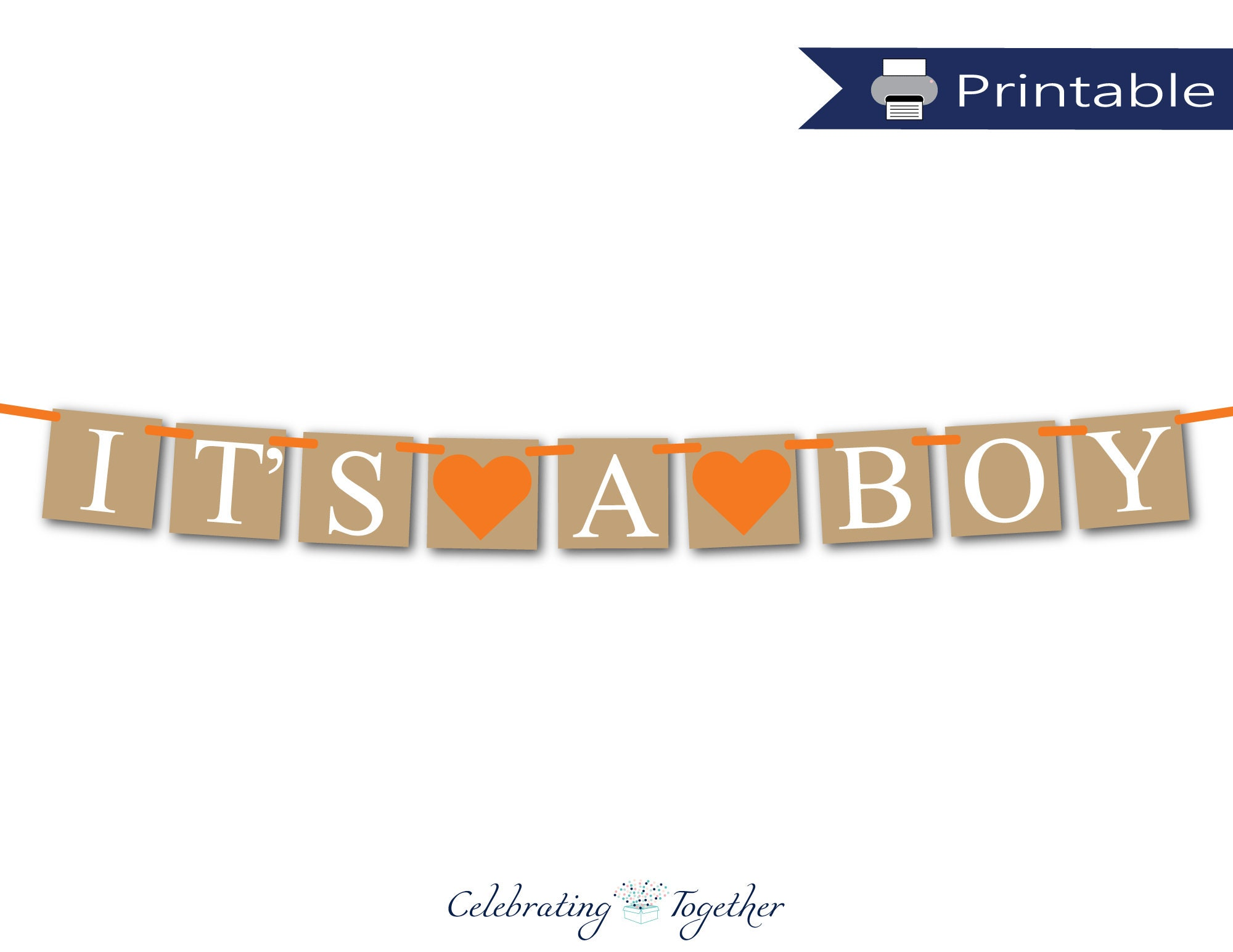 Printable Its A Boy Banner Jungle Boys Baby Shower Decorations Rustic Autumn Gender Reveal Party Ideas Orange Fall Baby Boy Bunting