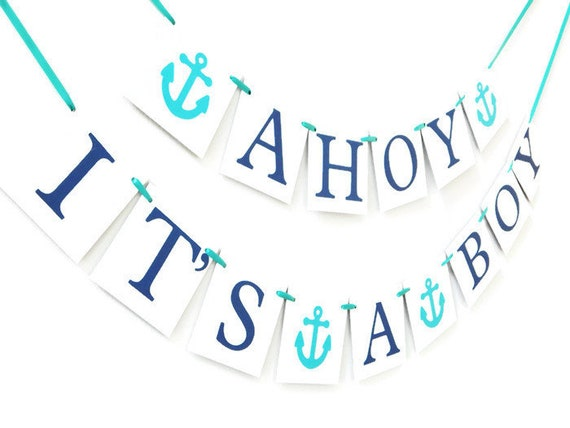 ahoy its a boy banner baby boy banner baby shower banner etsy