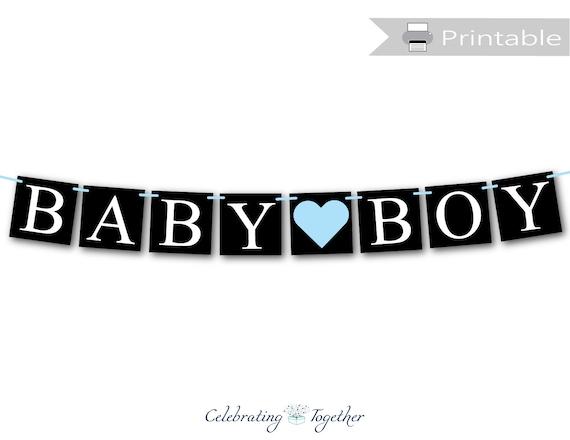 Baby Boy Chalk Inspired Baby Shower Printed Banner Indoor Outdoor Baby Boy Chalk Inspired Banner