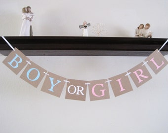 boy or girl gender reveal decorations, baby shower decorations, baby shower banner, gender reveal ideas, baby shower decor, party supplies