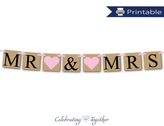 Cool Printable Mr And Mrs Banner Instant Download Rustic Wedding Download Free Architecture Designs Licukmadebymaigaardcom