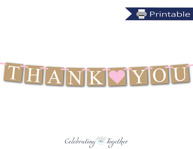 image regarding Thank You Banner Printable referred to as Printable rustic thank oneself banner, fast down load bridal shower garland, bride and groom picture prop bunting, wedding ceremony thank yourself decor
