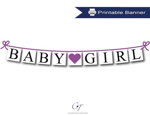 digital download baby girl banner purple printable baby shower