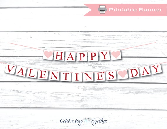 image relating to Happy Valentines Day Banner Printable identify PRINTABLE Delighted Valentines Working day banner, electronic down load