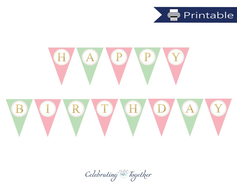 photo relating to Happy Birthday Lettering Printables referred to as printable pleased birthday banner, prompt obtain birthday decoration, women red and mint birthday occasion Programs, do it yourself gold get together pennant