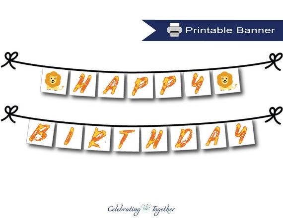 Printable Safari Happy Birthday Banner Instant Download