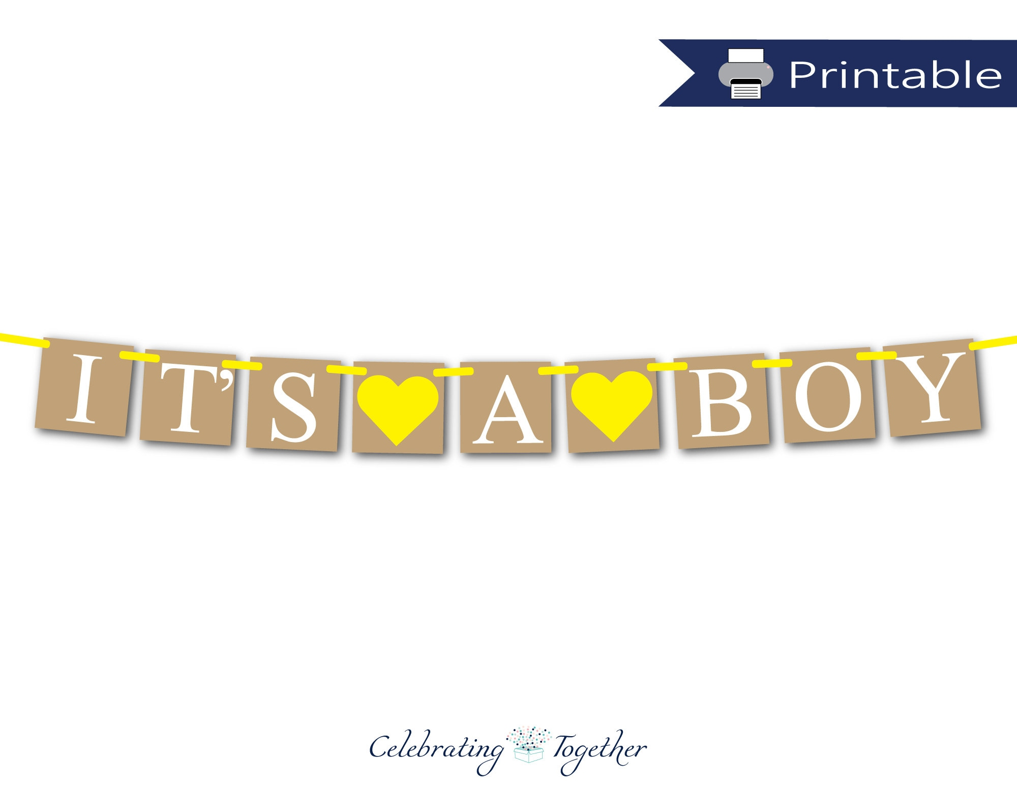 Printable Its A Boy Banner Diy Boys Baby Shower Decorations Rustic Gender Neutral Reveal Party Idea Yellow Its A Boy Garland Download