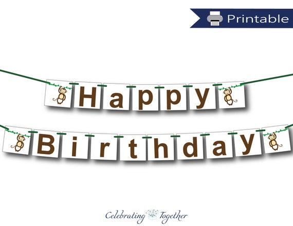 Printable Monkey Happy Birthday Banner Instant Download