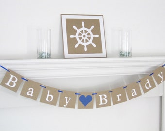 Personalized baby name banner, custom name banner, baby shower decorations, baby girl banner, boy baby shower banner, boy name sign