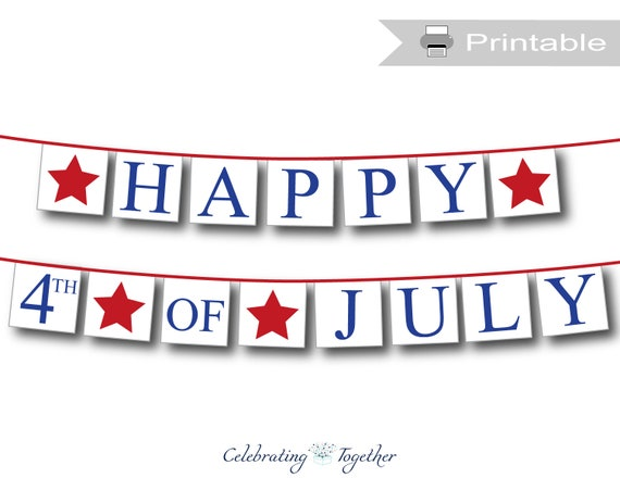 Happy 4th of July Printable Vintage Style Banner Independence Day Party Decoration