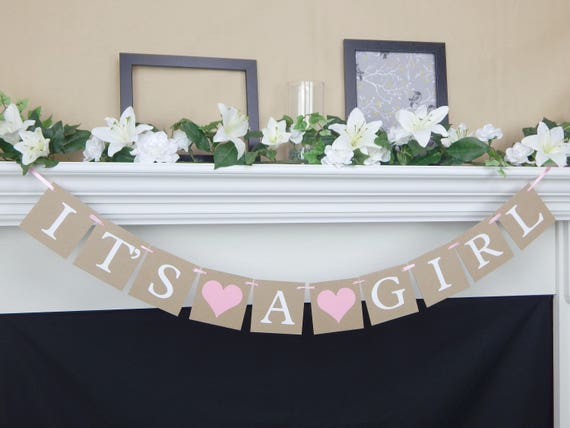 Its A Girl Banner Rustic Baby Shower Decorations Girls Baby Shower Banner Gender Reveal Party Ideas Chic Pink Baby Girl Bunting Decor By Celebrating Together Catch My Party