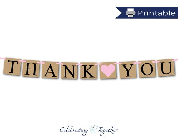 image about Thank You Banner Printable named Printable thank your self banner, fast obtain bridal shower garland, bride and groom photograph prop bunting, rustic marriage ceremony thank your self decor