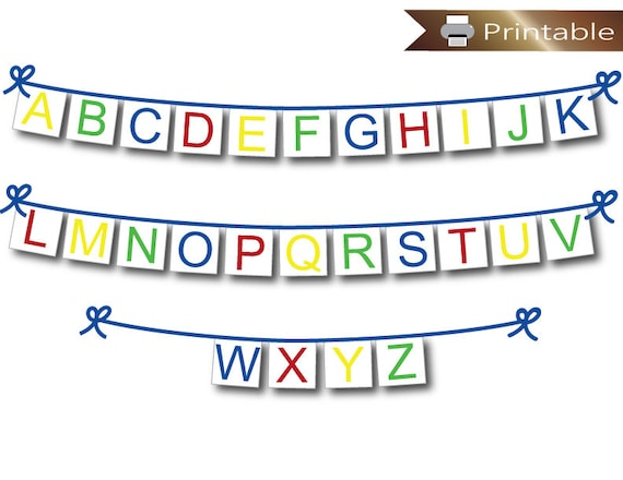Printable Alphabet Banner Abc Baby Shower Banner Instant Download Boys Nursery Decor Teacher Learning Tool Preschool Classroom Decoration By Celebrating Together Catch My Party
