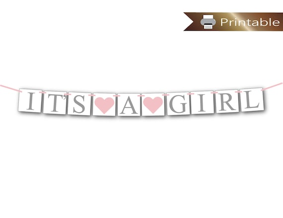 Printable Its A Girl Banner Gray And Pink Baby Shower Etsy