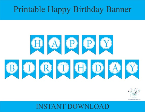 image regarding Happy Birthday Printable Banner titled joyful birthday printable banner, immediate obtain birthday occasion signal decoration recommendations, do it yourself downloadable blue boys pennant bunting