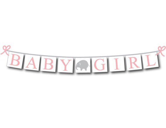 Pink Floral Elephant IT/'S A GIRL Bunting Baby Shower Decor Banner Cute