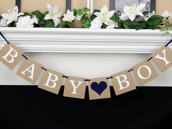 Baby Boy Banner Rustic Baby Shower Decorations Navy Blue Its A Boy