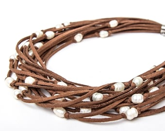 Freshwater Pearl Brown Faux Suede Cord necklace
