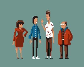 Seinfeld characters pixel art small print