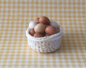 Dolls House Miniature Basket of Eggs. - Handmade