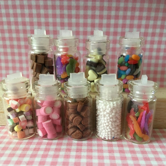 New Dolly Mixtures  Handmade Glass Jar 12th Scale Dolls House Sweets