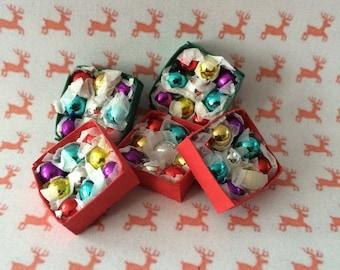Dolls House Miniature  Box of Christmas Baubles - Handmade