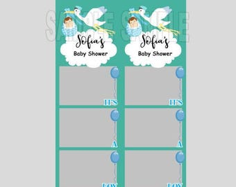 Stork photo booth etsy photo booth templateinstant downloadstork baby showerits a boy baby showerfun playful partybaby shower photo strips maxwellsz
