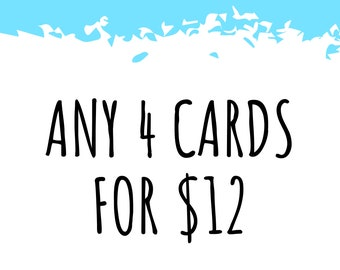 Any 4 Cards! Bulk Greeting Card Pack / Handmade Pun Cards / Bad Jokes / All Occasion / Thank You / Birthday / Love Anniversary / Best Friend