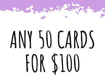 Any 50 Cards! Bulk Greeting Card Pack / Handmade Pun Cards / Bad Jokes / All Occasion / Thank You / Birthday / Love Anniversary Best Friend