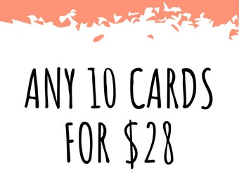 Any 10 Cards! Bulk Greeting Card Pack / Handmade Pun Cards / Bad Jokes / All Occasion / Thank You / Birthday / Love Anniversary Best Friend