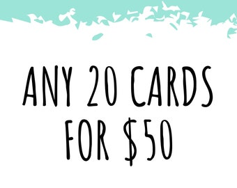 Any 20 Cards! Bulk Greeting Card Pack / Handmade Pun Cards / Bad Jokes / All Occasion / Thank You / Birthday / Love Anniversary Best Friend