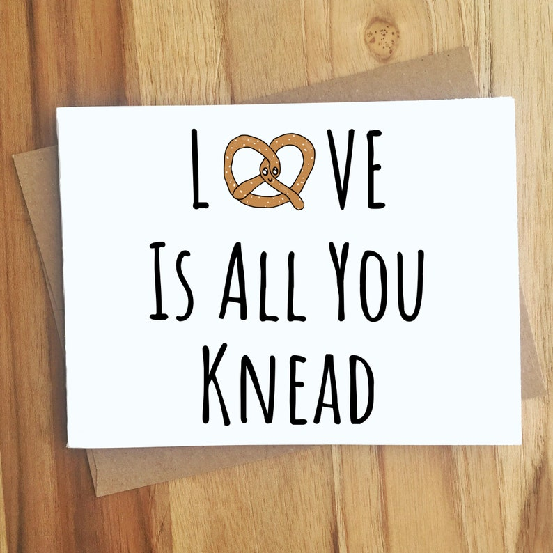 Pretzel Pun Card Love Is All You Knead