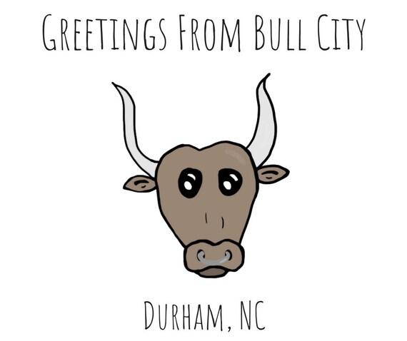 Bull City Card Bull City Durham Cute Funny Puns Etsy