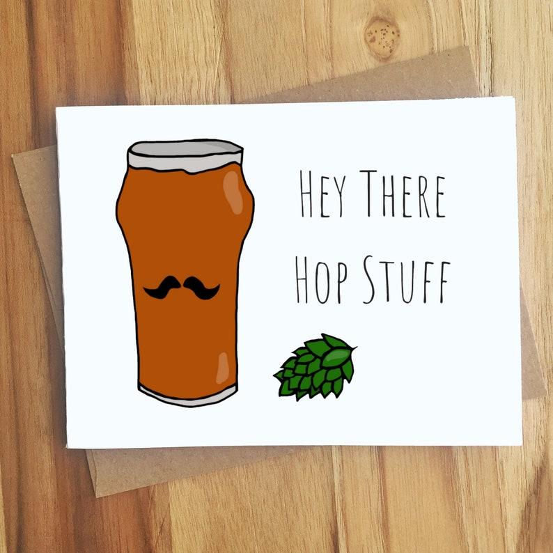 Hey There Hops Stuff Beer Pun Card - Hops - Love & Anniversary - Funny -  Flirty - Cute - Hot Stuff